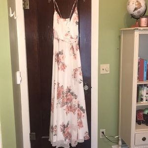 Elegantly Inclined Cream Floral Wrap Dress